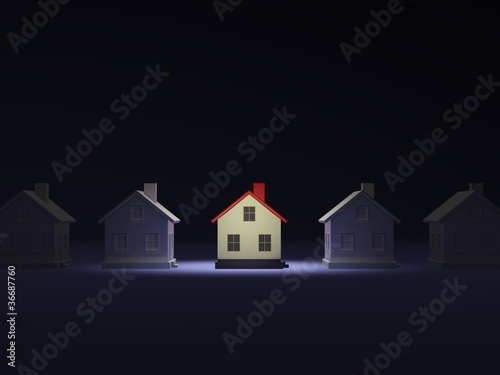 House in the light over dark background
