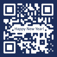 New Year Card with QR  Code Illustration