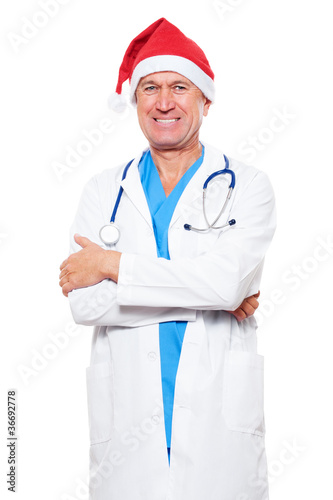 doctor in red santa hat