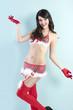 fashion shot of sensual christmas girl, she has open arms