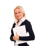 business woman holding reports and looking at camera