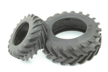 Tractor tires on white background