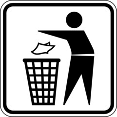 Mülleimer Entsorgung Wegwerfen Schild Zeichen
