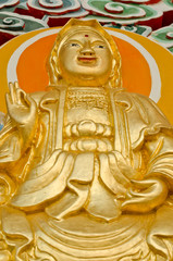 Guanyin image at wall of buddhist shrine,Thailand