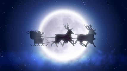 Santa with reindeers flies over moon in loop