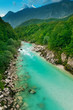 Beautiful turquoise mountain river Soca (Isonzo), Slovenia