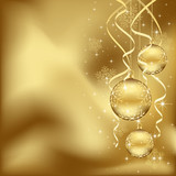 Fototapety Golden Christmas baubles
