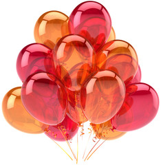 Balloons party birthday orange red translucent decoration
