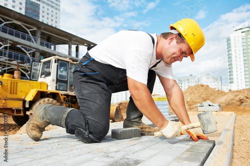 Leinwanddruck Bild sidewalk pavement construction works