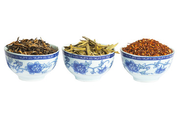 Set of red, green and black dry tea, isolated