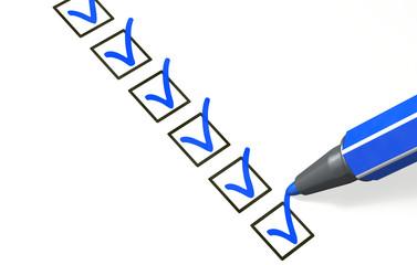 Checkliste blau