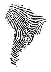 Südamerika, Landkarte mit Fingerabdruck