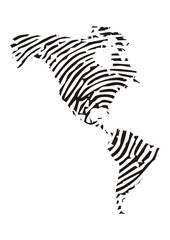 Amerika, Landkarte mit Fingerabdruck
