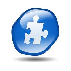 Boton brillante azul hexagonal simbolo plugin