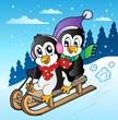 Winter scene with penguins sledging
