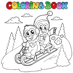 Coloring book penguins sledging