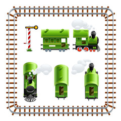 green vintage locomotive with coach set