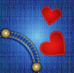 Vector jeans background with rivet and two red heart