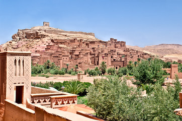 Ait Benhaddou fort in the moroccan desert
