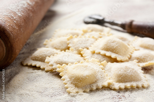 Making homemade ravioli