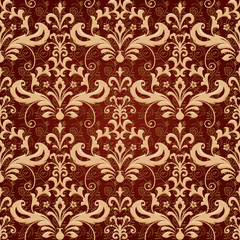 Vintage classic ornamental seamless wallpaper in brown and gold