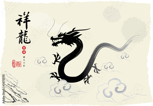 Chinese's Dragon Year of the Ink Painting