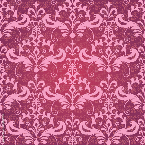 Vintage classic ornamental seamless wallpaper in red and pink