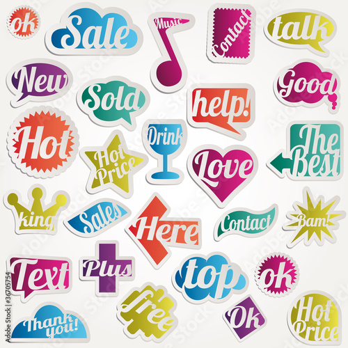 Set vector bubbles sticker with text words expressions