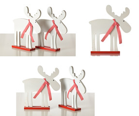 White Christmas Reindeer in timber 2 pcs