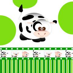 mucca - fascia con pecorella, maialino e mucca