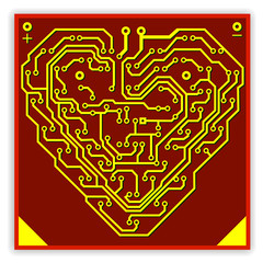 Circuit board pattern in the shape of the heart. Illustration. V