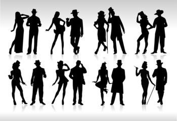 silhouettes costumes rétro