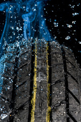 Tire with water drop