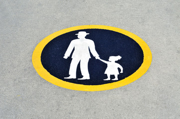 father with child traffic sign