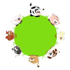 animali della fattoria in tondo