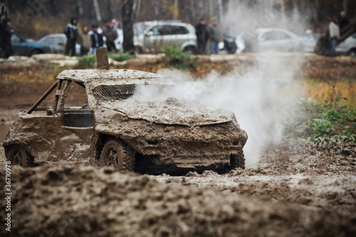 Damaged off-road race car