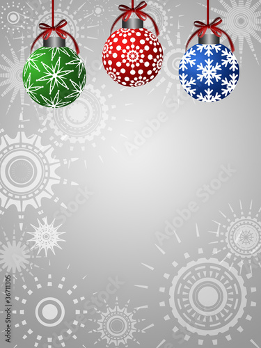 Three Colorful Ornaments on Silver Background