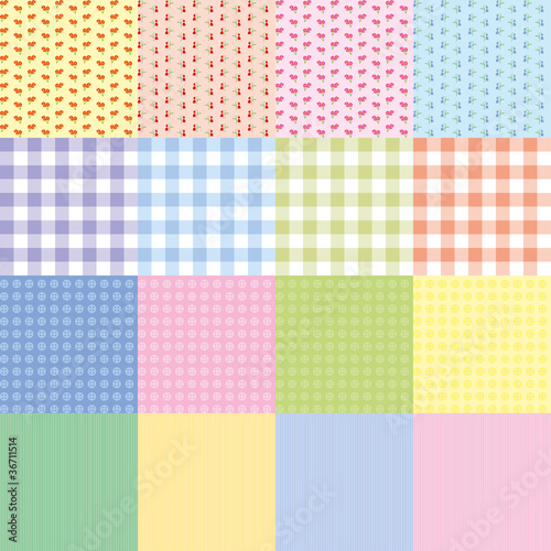 Set of 16 retro seamless patterns, vector illustration