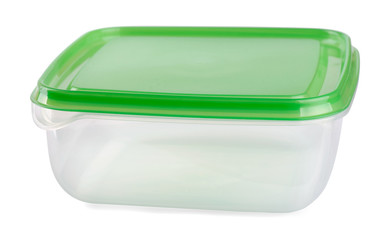 Empty food plastic container with green lid