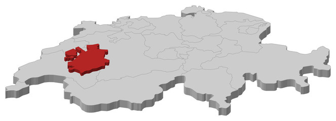 Map of Swizerland, Fribourg highlighted