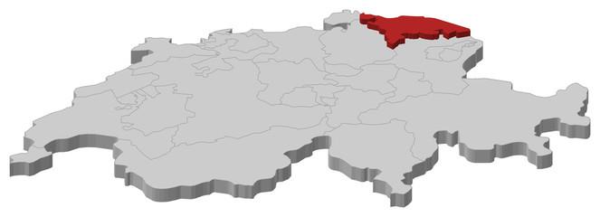 Map of Swizerland, Thurgau highlighted