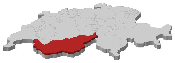 Map of Swizerland, Valais highlighted