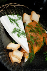 Specialty cheese with salmon