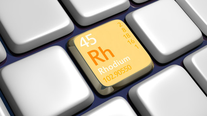 Keyboard (detail) with Rhodium element