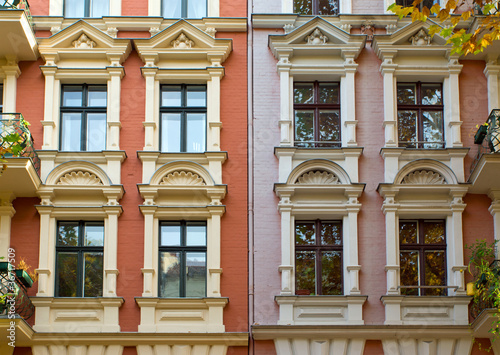 Windows of two rehabilitated town houses