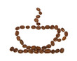 cup made ​​from coffee beans on white background