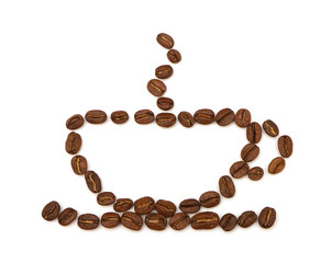 cup made from coffee beans on white background