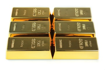 Gold bars on white background