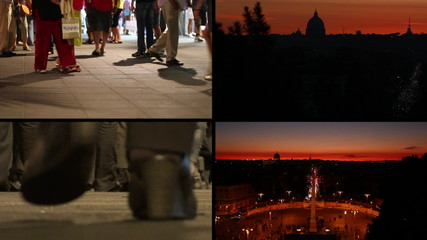 Rome sunset with people - Composition
