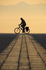 Riding the bike...